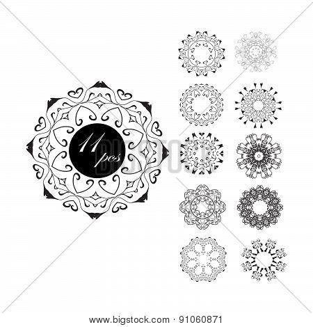 Set of circular patterns. Hand drawing. Mandala eastern