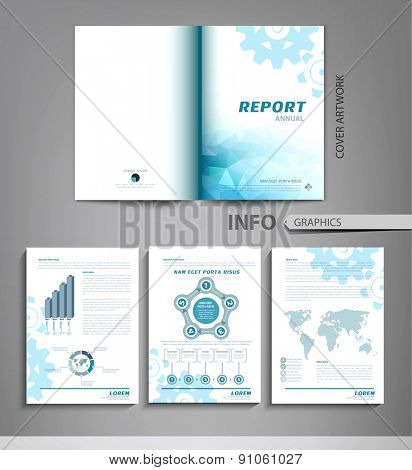 vector set of templates for business reports, advertising, with graphs, tables and other elements