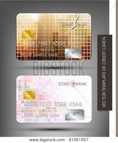 vector templates credit cards with abstract square pattern