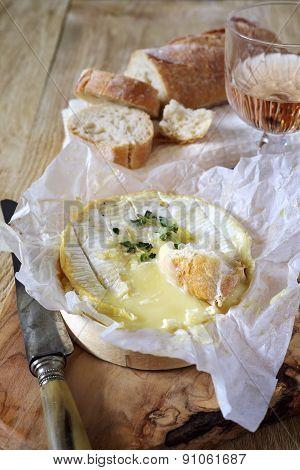 Camembert Fondue And Wineglass