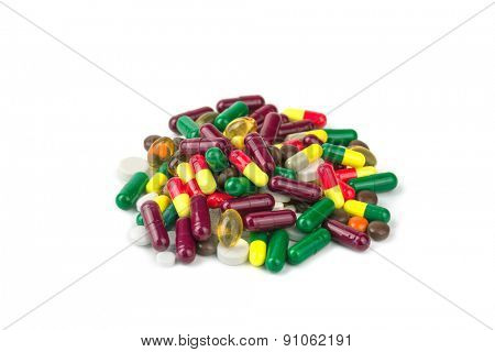 color pills isolated on white