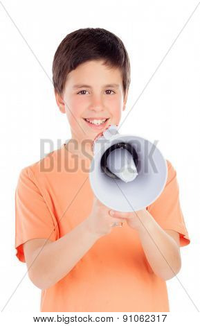 Funny preteen with a megaphone isolated on a white background