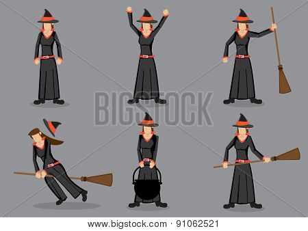 Black Witch Cartoon Character Vector Illustration