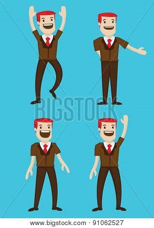 Happy Cartoon Man Character Body Language Vector Illustration