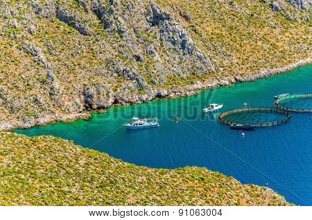Fish farms with cages in Greece