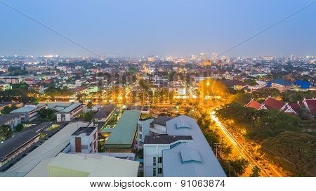 Panorama Shot Of Chiang Mai (the Old City),thailand  For Background Usage.
