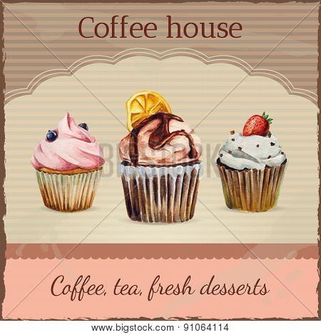 Coffee house advertisement with watercolor cupcakes illustration