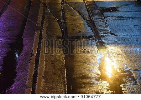 city street after rain