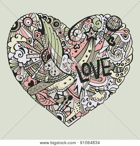 Dodle colorful heart with ornate otnament