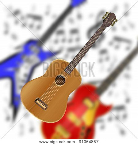 Acoustic Guitar On The Background Of Electric Guitars