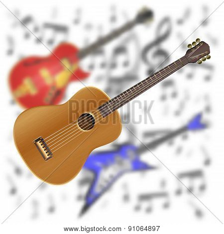 Acoustic Guitar On The Background Of Electric Guitar