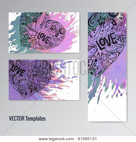 Card template set. Doodle hearts. Paint splash. Handdrawn youth style