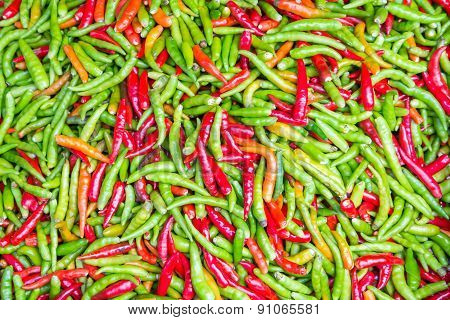 Colorful Chillies For Sale At Market,thailand