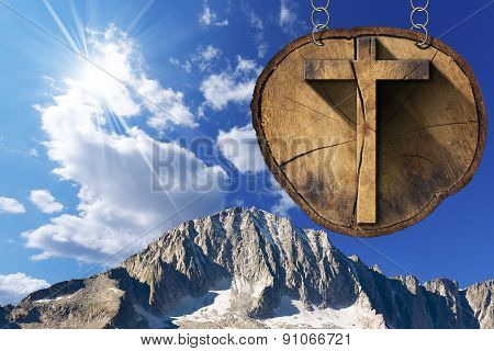 Wooden Cross On Tree Trunk - Italian Alps