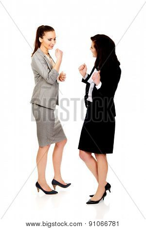 Two happy cheerful businesswomen making fists.