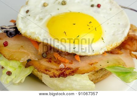 Burger With Fried Eggs And Bacon