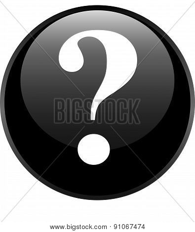 Black Glossy Button With Icon Question Mark