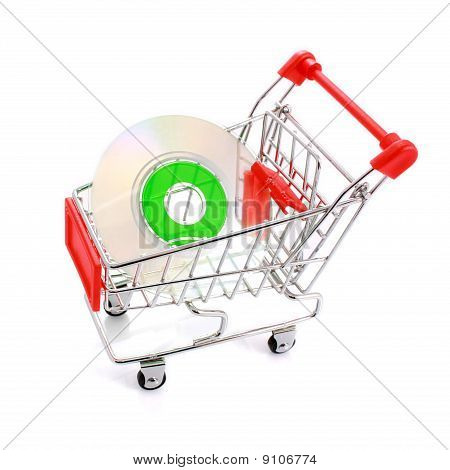 Mini Cd In Shopping Cart Isolated