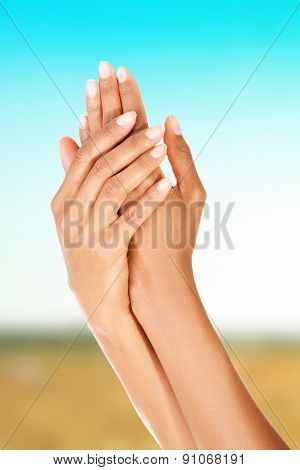 Beautiful pure and smooth female hands.