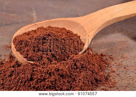 Ground Coffee In A Spoon
