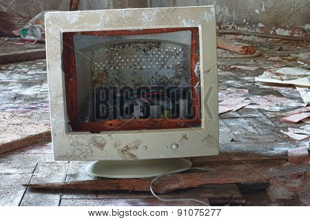 Broken Monitor ,photo From Demolition Of Factory