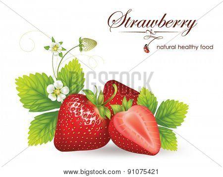 beautiful strawberries.  illustration of a realistic