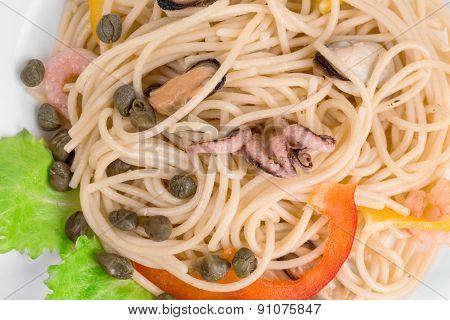 Tasty italian pasta with seafood.
