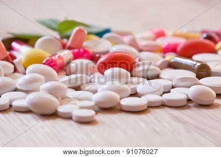 Multicoloured Pills And Capsules