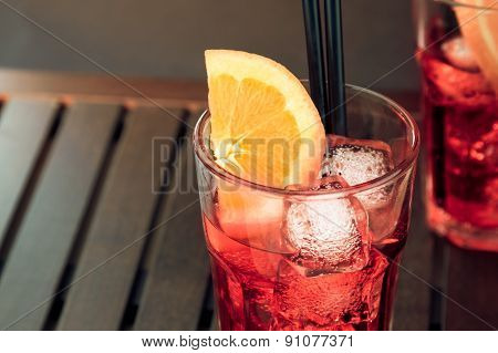 Top Of View Of Glasses Of Spritz Aperitif Aperol Cocktail With Orange Slices And Ice Cubes