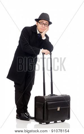 Young man holding bags isolated on white