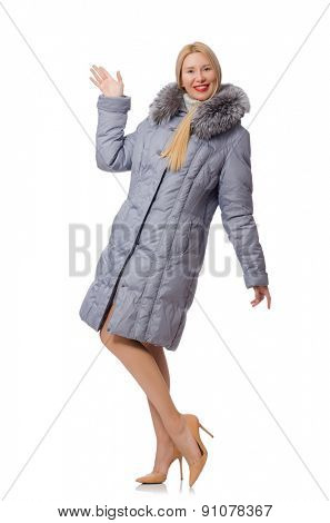 Beautiful woman in gray jacket isolated on white