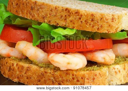 Sandwich With Shrimps And Pesto