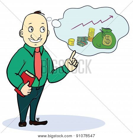 Man dreaming about money. Concept cartoon illustration. Vector