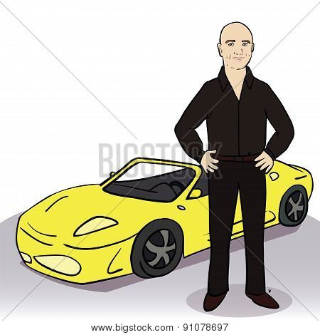 Yellow car and man. Vector illustration