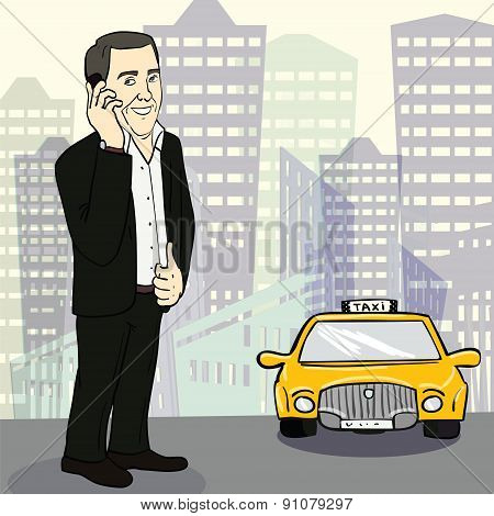 Man in suit catching taxi on the street. Vector illustration