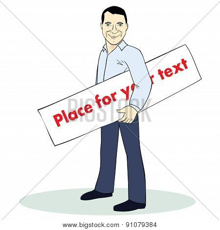 Standing man. Colorful illustration. Template with place for text. Image for advertising