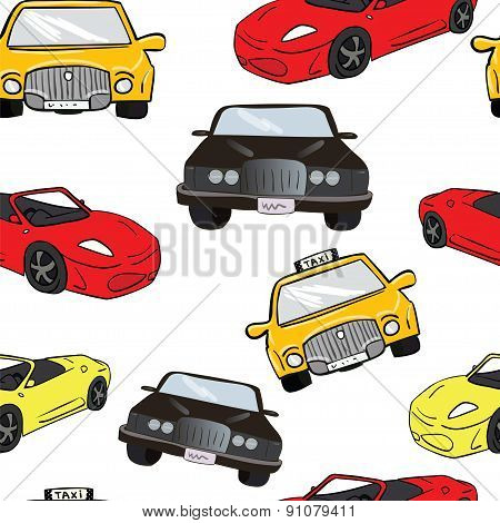 Vector seamless background. Colorful cartoon cars. Transport