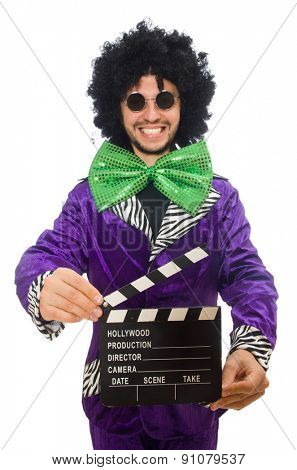 Funny man in wig with clapper board isolated on white