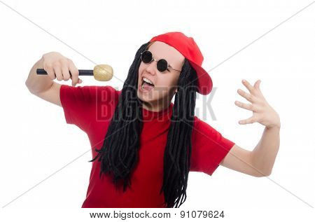 Positive boy with microphone isolated on white