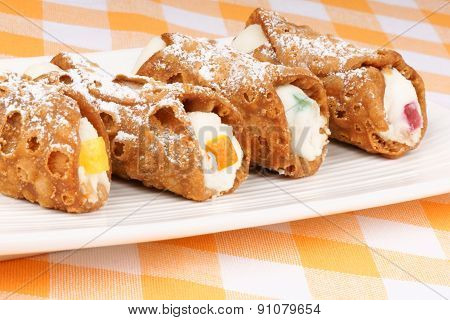 Close-up Of Original Mini Sicilian Cannoli