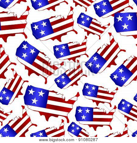 Usa Colors Map Shape Celebration Seamless Pattern Eps10