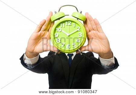 Handsome businessman holding alarm clock isolated on white