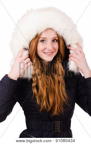 Woman in warm winter clothing isolated on white