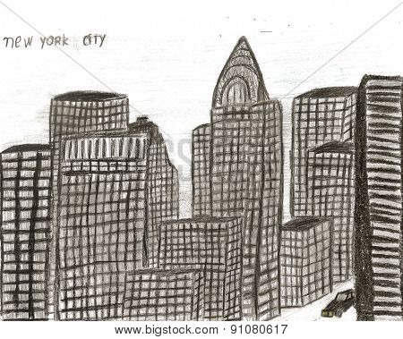 City New York Hand Drawn By Kid, Vector Illustration