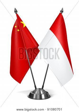 China and Monaco - Miniature Flags.