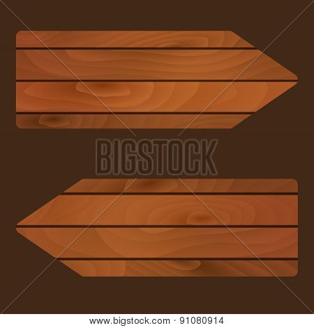 Vector Wooden Banners Signs Boards With Texture Eps10