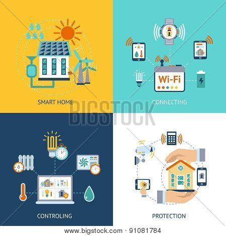 Smart house design concept flat