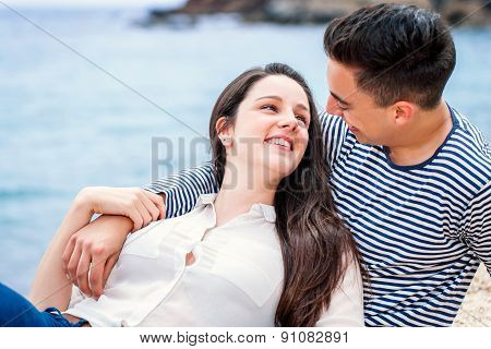 Couple Having Romantic Moment On Beach.