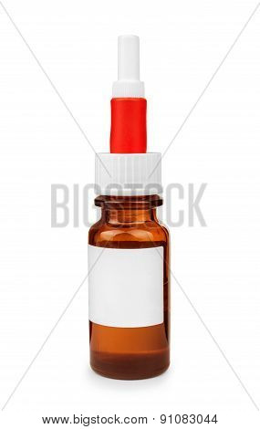 Bottle With Pipette With Medicine On An Isolated White Background