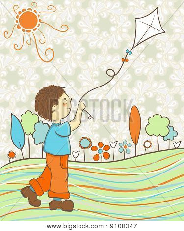 Boy playing mit Kite in retro Farben